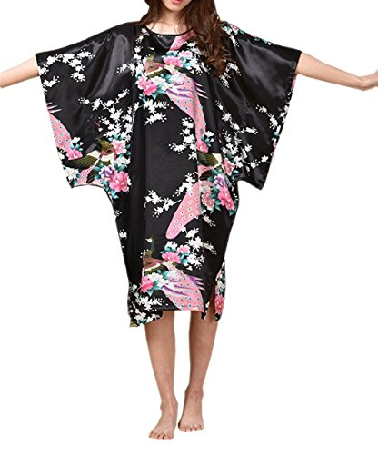 BigForest Femmes Batwing Sleeve Pullover Satin Peignoir Plus Size Pyjama robe Black