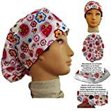 Scrub hat theatre cap STRAWBERRIES for Long Hair with sweatband and ajutable to your liking Nurse Veterinary Dentist Doctor