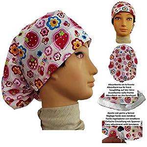 Chirurgische Kappe. Frau Erdbeeren für lange Haare, Chirurgie, Zahnarzt, Tierarzt, Küche usw. Handtuch vorne, perfekte Passform und passt alle Haare. Handmade