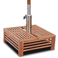 vidaXL Mesita y soporte de madera para la sombrilla