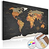 Weltkarte Pinnwand 90x60 cm Leinwand | Bilder Leinwandbilder - Fertig aufgespannt auf dicker 10mm Holzfasertafel! Aufhängfertig! Auch als Korktafel nutzbar! PWC0034b1S