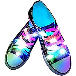 fourHeart Nylon Cordones LED luminoso de Zapatos 3 Modos Brillante para Disco Danza Fiestas Hip-hop (Vistoso)