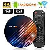 Android 9.0 TV Box 【4G+64G】 RK3318 Quad-Core 64bit Android TV Box, Wi-Fi-Dual 5G/2.4G, BT 4.0, 4K*2K UHD H.265, USB 3.0 Smart TV Box