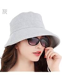 YXLMZ Señoras Mujeres Sombreros Primavera Verano Visera Plegable de Ocio al  Aire Libre en el Verano de Playa Sol Sol Sombrero Gris Elegante L… ca460e1d4db