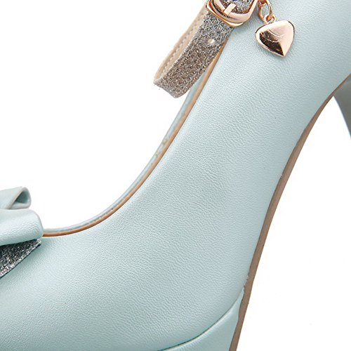 AgooLar Femme Pu Cuir à Talon Haut Rond Couleur Unie Boucle Chaussures Légeres Bleu