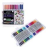 Mont Marte Brush Pen Set - 24 Stück - Ideale Watercolour Brush Marker mit zwei Spitzen für Adult Colouring, Hand-Lettering, Kalligraphie - Perfekte Pinselstifte für Anfänger, Erwachsene, Künstler