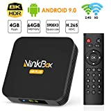 Android TV Box 4G+64G unterstützt 8K, NinkBox Android 9.0 TV Box N8 Plus Amlogic S905X3 Quad-Core 64bit Cortex-A55, Smart TV Box Set-top-Box für Bluetooth 4.0/WLAN 2.4G/5.0G/USB 3.0/Ethernet 100M -