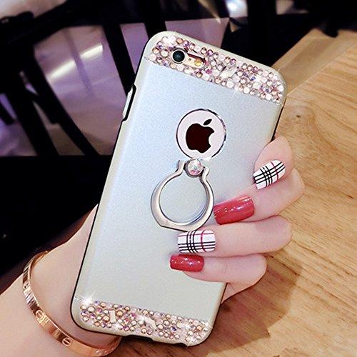 Custodia iPhone 6S Plus, Cover iPhone 6 Plus, iPhone 6/6S Plus 5.5 Custodia Silicone, JAWSEU Moda Fiore Rosa Lusso Diamante Cristallo di Bling Custodia per iPhone 6S/6 Plus Protectiva Bumper Elegante  Metallo Argento