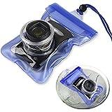 """[7.87""""x3.54""""x1.57""""]Bleu Housse étui coque étanche poche sac pour appareil photo"""