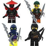 LEGO Ninjago 4er Figurenset Ultimate 21 - Cole Swordsmann Sqiffy Ghost Ninja Attila mit 8 GALAXYARMS Waffen Schwerter