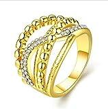Aeici Gold Ring für Damen Modestil 18K Überzog Geometrische Form Eingelegtes Cz Größe 57 (18.1)