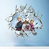 Oulique - Adesivo in 3D, Formato XXL, Motivo: Anna, Kristoff e Olaf (Frozen)