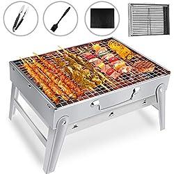 Gifort Barbecue Portable, Grill Barbecue à Charbon de Table en Acier Inoxydable Pliable Four Grille de Cuisson Démontable pour Barbecue de Jardin extérieur Camping pour 3-5 Personnes