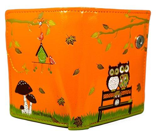 Shagwear portafoglio per giovani donne Small Purse : Diversi colori e design: panchina arancione/ The Park Bench