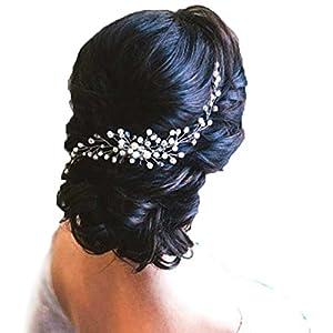 Haarschmuck Haarkamm Braut Hochzeit Diademe Jewerly Perle Blume Kristall Strass