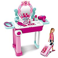 Pretend Play Makeup Toy Set Beauty Princess Dressing Table and Suitcase 2 in 1 Gift for Kids Girls Children,Pink