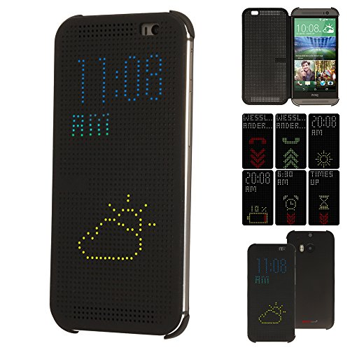 techgearr-htc-one-m8-dot-matrix-view-flip-case-cover-with-auto-sleep-wake-function-black