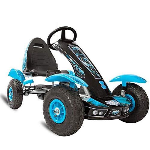 Lvbeis Kids Go-Kart-Fahren Mit Handbremse Tretauto Indoor Outdoor Tretfahrzeug Verstellbarer Kettcar Sitz FüR 5 Bis 14 Jahre,Blue