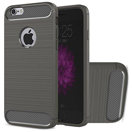 Coque iPhone 6s HICASER Carbon Fiber Grip résilient Anti-Slip Ultra Durable la Protection Drop Résistance Flexible TPU Armure Case pour iPhone 6 / 6s 4.7-pouce Gris Gris