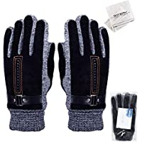 WITERY Men's Winter Leather Gloves Thick Warm Fleece Windproof Gloves Cold Proof Thermal Mittens - Ideal for Dress Driving Cycling Motorcycle Camping etc
