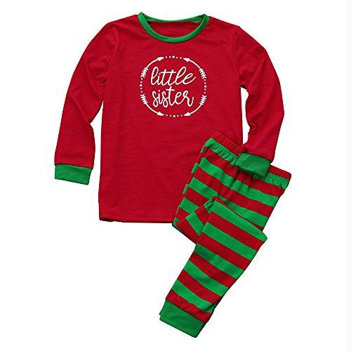 Jiameng set di strisce per la casa di natale delle ragazze la camicetta stampata ragazza supera i vestiti a strisce dei vestiti delle tenute di natale dei pantaloni di santa + (rosso,2t)