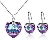 f7df5768aa GoSparking Mystic Topaz cristallo del cuore Sterling Silver Earrings &  Pendant impostato con cristallo austriaco per le donne