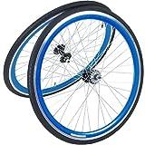 viking 28 Zoll 700C Laufradsatz mit Reifen Vorne + Hinten Fixie Singlespeed Hochflansch Fixed Gear Wheel, Farbe Vorderrad:Blau, Farbe Hinterrad:Blau