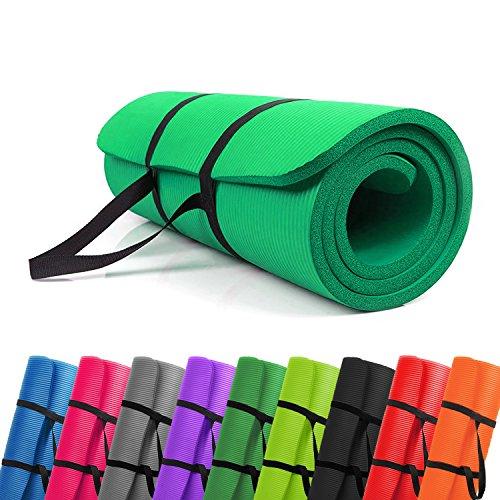 PROMIC Trainingsmatte, Yogamatte, 183 cm x 61 cm x 1,5 cm Pilates Matte, für Yoga, Pilates und andere Trainings zu Hause und Studio, rutschfeste Gymnastikmatte mit Tragegürtel, Grün