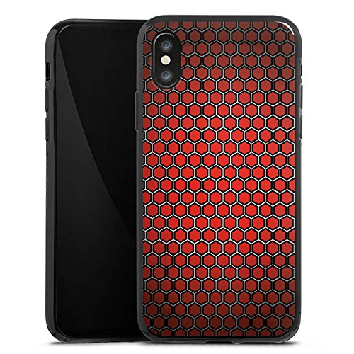 Apple iPhone X Silikon Hülle Case Schutzhülle Red Hexagon Pattern Punkte Muster Look Silikon Case schwarz