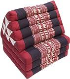 Guru-Shop Cuscino Tailandese, Cuscino Triangolare, Kapok, day bed con 3 Cuscini - Rosso/nero, 30x50x160 cm, Cuscino Thai / 3 Supporti