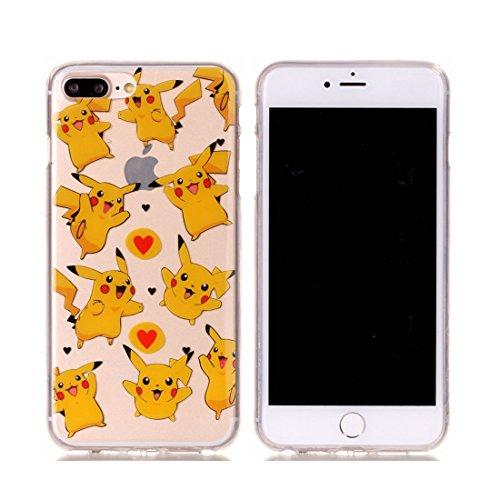 iPhone 7 Plus Custodia Case, Clear Ultra sottile protettiva TPU Silicone Back Rubber Bumper Protector iPhone 7 Plus copertura Cover 5.5 - farfalla bianca Fiore # 3