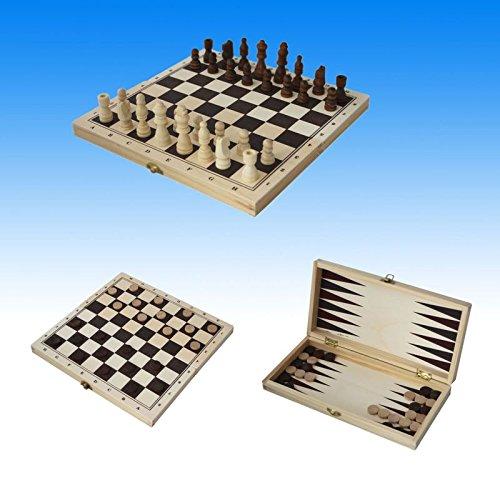 3 in 1 Schach, Dame, Backgammon, Gesellschaftsspiel, Strategiespiel, Spielset Brettspielset