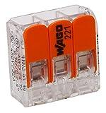 Kopp 33346405 WAGO Steckklemme 3-Fach mit Hebel für Flexible Drähte wiederöffenbar transparent/orange 1,5-2,5 mm² Inhalt 10 Stück, Grau