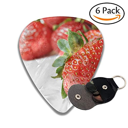 Fresh Strawberries On White Background With Copy Space Macro With Shallow Dof Colorful Celluloid Guitar Picks Plectrums For Guitar Bass 6 Pack.46mm Dof Set