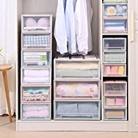 Homieco Stackable Box Chest Plastic Transparent Drawer Unit Organizer wardrobe Storage Boxes