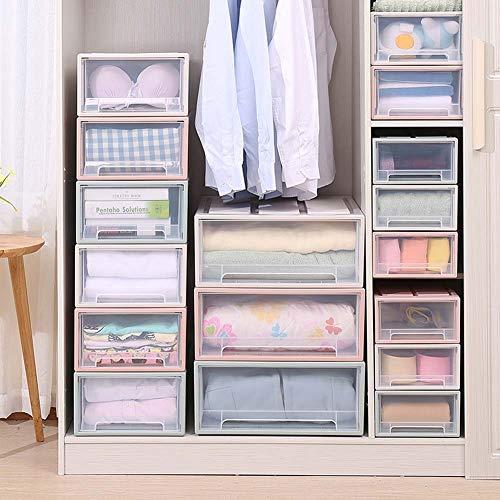 Homieco contenitori impilabili per armadio con cassettiera in plastica trasparente a cassettiera impilabile, colore medio/rosa
