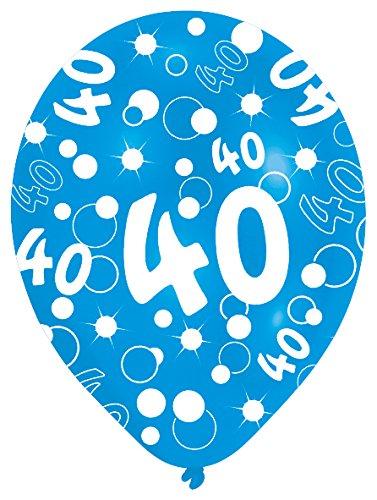 Amscan 27.5 cm 40. Geburtstag, 6 Luftballons, Blau