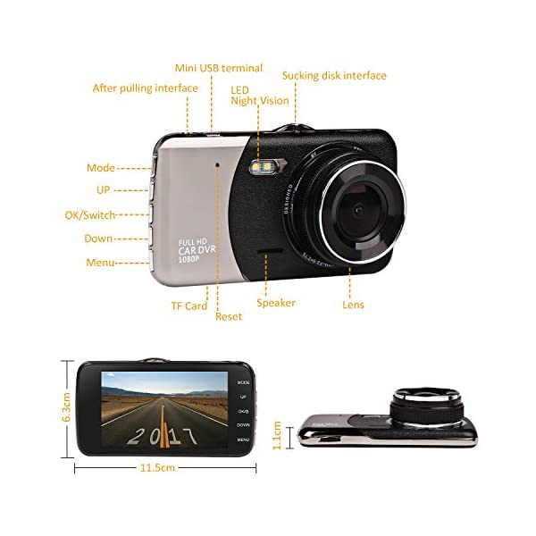 Car Dash Cam, JC Beauty[New Upgrade Version] 170°Wide Angle Front and Rear  Dual Lens Digital Mini Camera DVR 1080P Full HD, For Video Loop Recording