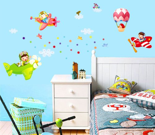 ufengke® Bambini Piloti Aerei e Dirigibili Adesivi Murali, Camera ...