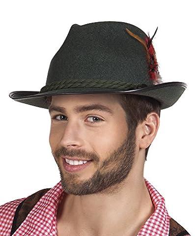 erdbeerclown - Bayerischer filzartiger Hut mit Feder Kostüm, Schwarz (Deutschen Offizier Hut Kostüm)