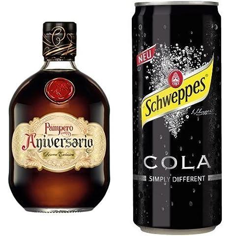 Pampero Aniversario Reserva Exclusiva Rum im Lederbeutel (1 x 0.7 l) mit Schweppes Cola, 12er Pack (12 x 330 ml)