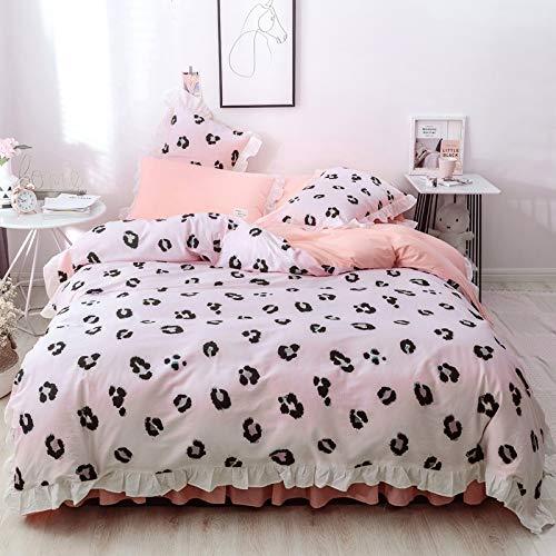 Bfmbch letto camera da letto nuovo cotone leopardo rosa letto quattro pezzi trapunta cotone trapunta biancheria da letto gonna tre pezzi a 150 cm * 200 cm (gonna letto)