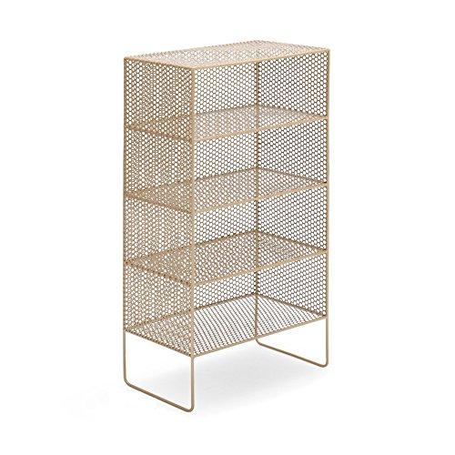Bücherregal Feifei Mehrschichtiges Kreatives Einfaches Modernes Boden-Schließfach-nordisches Speicher-Regal-Eisen Einfaches (Farbe : Gold, Größe : 50*30*97cm)