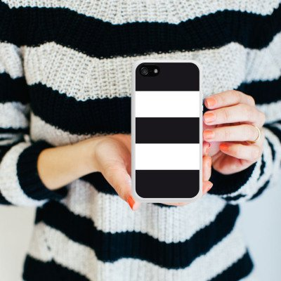 Apple iPhone SE Housse Outdoor Étui militaire Coque Noir et blanc Motif Motif Housse en silicone blanc