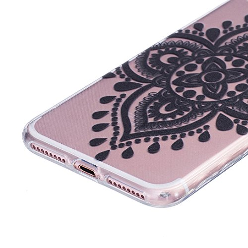 Pheant® [4 in 1] Apple iPhone 7 Plus (5.5 pouces) Coque Gel Étui Housse de Protection Transparent Cas avec Verre Trempé Protecteur d'écran Stylet Bouchon Anti Poussiere Rétro Totémique