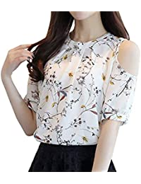Blusa Mujer Verano Chiffon Manga Corta Cuello Redondo Off Shoulder Camisas Tallas Grandes Relaxed Suave Basic Túnica Casuales Moda Joven…