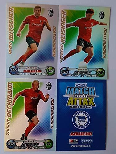 Match Attax Topps 2009 2010 - Trading Cards alle 3 Matchwinner: Freiburg: Butscher, Reisinger, Bechmann (Topps-fußball-2010)