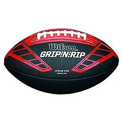 Idea Regalo - Wilson Palla da Football Americano, Uso amatoriale, Misura Junior, NFL Grip N RIP Junior Football RD, Nero/Rosso, WTF1608XB