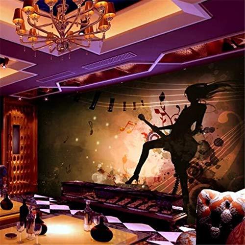 L22LW Wandbild Die Wallpaper 3D Wandbilder Personalisierte Rock Mädchen E-Gitarre Trivia Bar Hintergrundbild Wandbilder, 400 cm * 280 cm (H)
