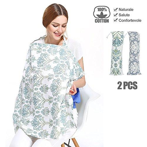 2 PCS Copertura Cover di allattamento al seno 100% Cotone Morbido Grembiule infermieristica Scialle da allattamento Mama scarf Multifunzione Coperta con Tasche